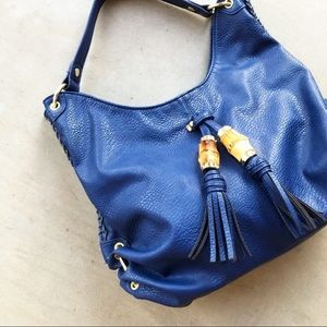 OLIVIA + JOY Cobalt Tassel Faux Leather Hobo Bag